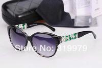 Free Shipping Luxury ladies acetate sunglasses women brand original designer top quality very nice flower pattern on temple