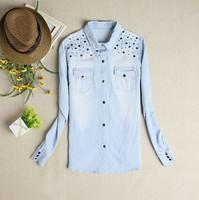 New 2014 Water wash wearing white women all-match rivet light blue long-sleeve tops denim shirt jeans blouses female blusas
