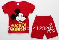 s194 Mouse cartoon children's clothing set for boys girls summer short-sleeved T-shirt+pants kids 2pcs set