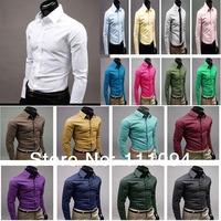 Men's clothing base free shipping 2014 New arrival Spring Slim Korean Fashion Long-sleeved shirts 17colors big size M-XXXL