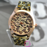good quality new fashion girl woman lady gold geneva leopard print rubber wrist watch wristwatch hour