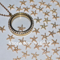 Free Shipping good quality wholesale gold white stone starfish Floating Charms For Glass Floating Charms