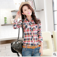 Women Clothing Seconds Kill Pockets Plaid V-neck New 2014 Spring Summer Brand Casual Cotton Blouse Shirts Sleeve Women Blouses &