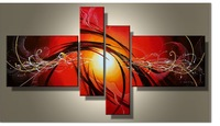 Current Fashion Canvas Painting Red Abstract Art 4 Piece Artwork Hand Painted Oil Pictures Home Living Room Entrance Decoration
