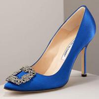 Hot women pumps 2014 brand new arrival 9cm high heels wedding prom shoes Blue Black prom bridal rhinestone pumps free shipping