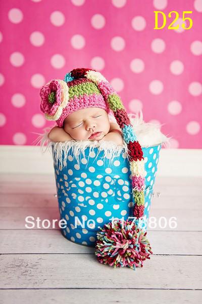 028 Baby Crochet Newborn flower hat handmade crochet photography props baby knitted hat(China (Mainland))