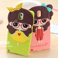 HOT Fresh Girl Cartoon Long-haired Girl 3D TPU Silicone Soft Case Cover For Samsung Galaxy Note 3 III N9000 N9005 Phone Case Bag