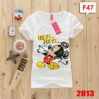 (Alice)HOT! 2013 New Design Free shipping Ladies cartoon Short sleeve t shirt Cotton Summer t-shirt tees 21 models good quality