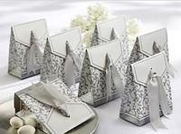 100pcs Gold Silver Ribbon Wedding Favor Candy Boxes Silver Wedding Party Gift Box