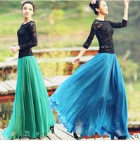 New 2014  Summer  8 meters big swing high waist long skirts women mopping chiffon maxi skirts saia