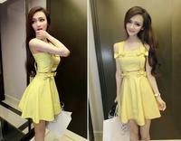 2014 New Summer retro braces elegant dress party backless  women cute yellow dresses   Y03079