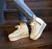 2014 spring new arrival lacing canvas shoes platform shoes platform casual zipper decoration high comfortable  -07