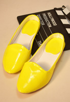 Fashion new arrival 2014 japanned leather candy pointed toe shoes half-slippers small wedges female slippers  -07