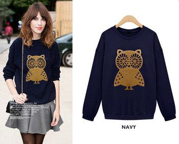2014 Spring Повседневный Cute Owl Animal Print Hoodies Pullover Girls Женщины Модный ...