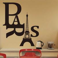 word EIFFEL TOWER wall Sticker Mural PARIS Decor Art Vinyl Decal Black