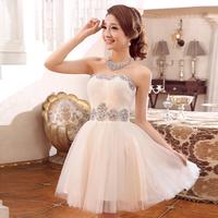 Tube top short design  sweet princess puff skirt bride and bridesmaids dress with beading Free shipping