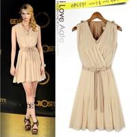 2014 trade new European star fashion brand style beige Pleated sleeveless Dress
