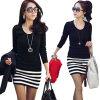 2014 spring new arrival women's plus size stripe long-sleeve slim hip one-piece dress slim basic one-piece dress