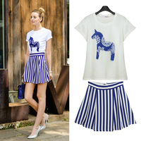 2014 women's summer print short-sleeve T-shirt +short skirt stripe dress twinset female