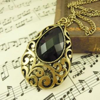 Free Shipping 10 mix order 2014 New Fashion Vintage European retro style black stones long necklace