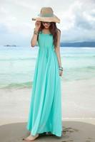 2014 New Sale Floral Women's Spring Elegant Peter Pan Collar Chiffon Expansion Bohemia Beach Full Dress Vestidos Casual Shipping