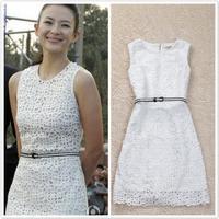 2014 Seconds Kill Natural Spring Summer New Brand Sale Designer Star Flowers Party Dinner Evening Wear Lace Dress Slim Dresses