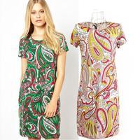 2014 Real Sale Empire Chiffon A-line O-neck Phoenix Slim Size Women Elegant Dress Green/pink Sizes:m,l for 4 Season Freeshipping
