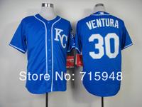 New Baseball Jerseys KC Royals New Blue Color Cool Base Jersey #30 Ventura Jersey  Stitched Size 48-56 Mix Order