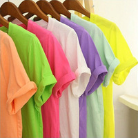 New 2014 Spring and summer female multicolour all-match 100% cotton t-shirt short-sleeve vintage fashionable casual solid color