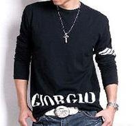 Lycra + Cotton fashion Men's Stylish Comfort Lycra Deep O-Neck Long Sleeves T-Shirt Tunic Button Tops/Tees 3519 b015