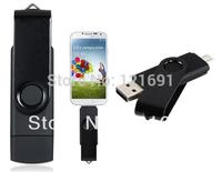 Smart Phone USB Flash Drives Rotatable OTG 128MB 4GB 8GB 16GB 32GB USB Flash Drive for Cell Phones & Tablet PCs (Black)