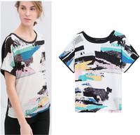 New 2014 women t-shirts woman clothes summer Fashion Round neck printed chiffon landscape  women's T-shirt Free shipping