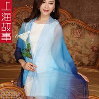 Silk scarf mulberry silk female long design silk shawl scarf dual chiffon pendant  Free shipping