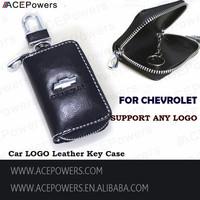 Free Shipping Fashion Chevrolet Car Logo Genuine Leather Car Key Case Cover Bag Keychain Ring Holder Key Bag