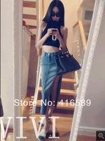 Summer Self-restraint slim vest tops denim placketing bust skirt two pieces set