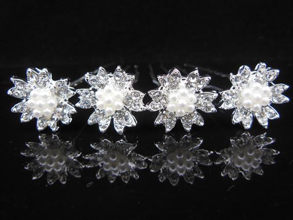 60Pcs Snowflake White Pearl Crystal Bridal Wedding Hair Pins Hair Accessory A-78(China (Mainland))