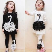 Girls Clothing Set 2014 spring summer New Black White Swan Children Clothes Long Sleeve T-shirts+Pants Pajama kids sets