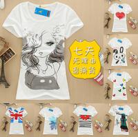 20 Colors!!Exclusive! M-L, 2014 New Hot SaleBird fashion Cartoon Women Short Sleeve colorful cotton T Shirt, Loose Blouse,A2