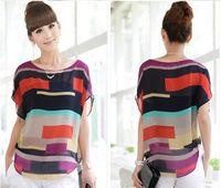 women blouse shirt Multi-colour print Stripe Loose Short Sleeve Chiffon Shirt Brand casual plus size summer blouse S-XXXL