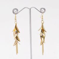 Sheegior Chic Elegant Charming Long Tassel chain Gold Silver leaves Long Metal Alloy Women dangle earrings Free shipping
