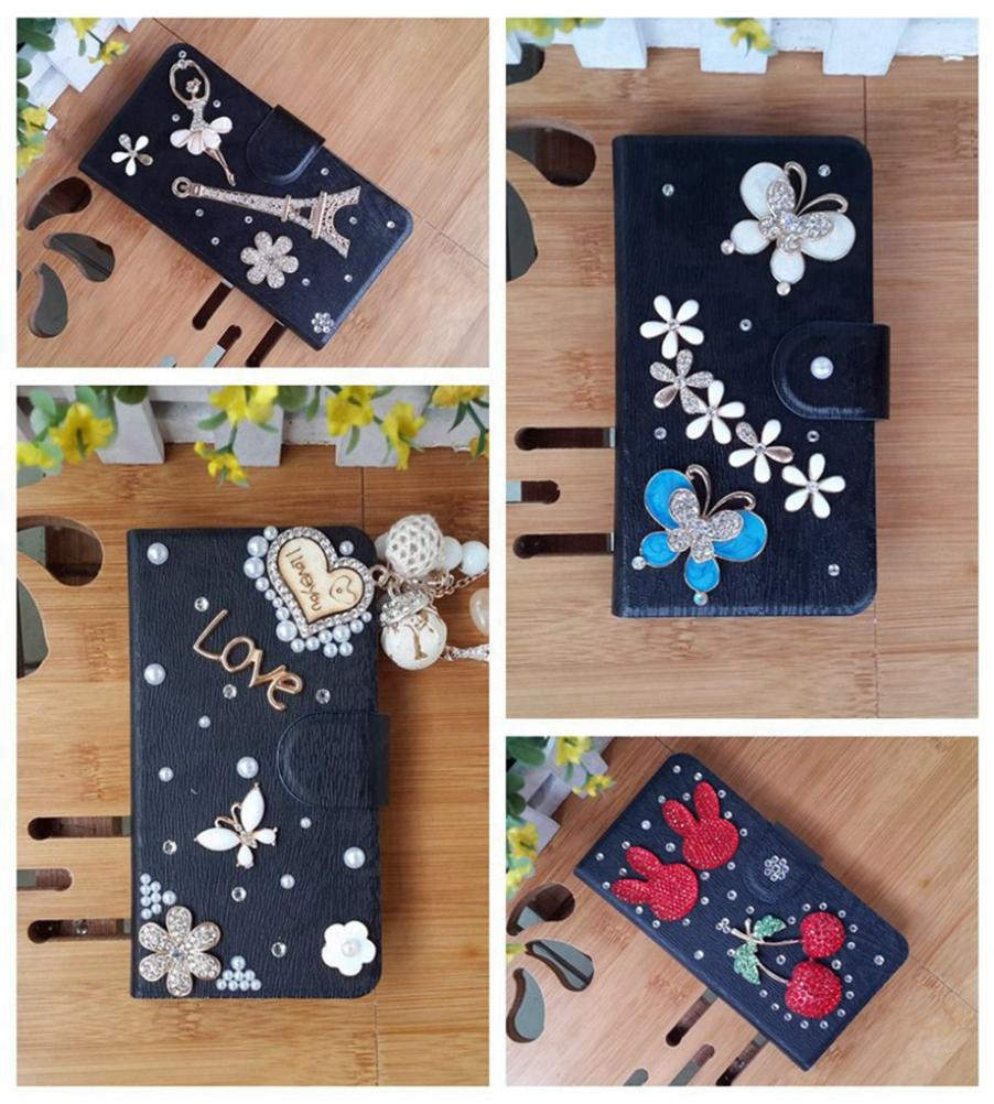 Holster crown noble Bling jewel PU leather flip diamond phone Black cover case for OPPO Find Clover R815T(China (Mainland))