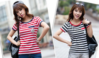 2 Colors! Exclusive! M-XL, 2014 New Hot Sale black red Stripe sexy Women Short Sleeve cotton Shirt, T shirt, Loose Blouse,A12