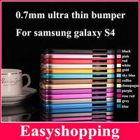 0.7MM Ultra thin slim cross aluminum metal bumper retail package  For Samsung Galaxy S4 mini i9190 i9500 1pcs Freeshipping