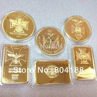 2014 coins supplier wholesale coin Mix 6 designs Free Shipping 1oz Gold Plated Coin 30 pcs /lot German coins souvenir coin