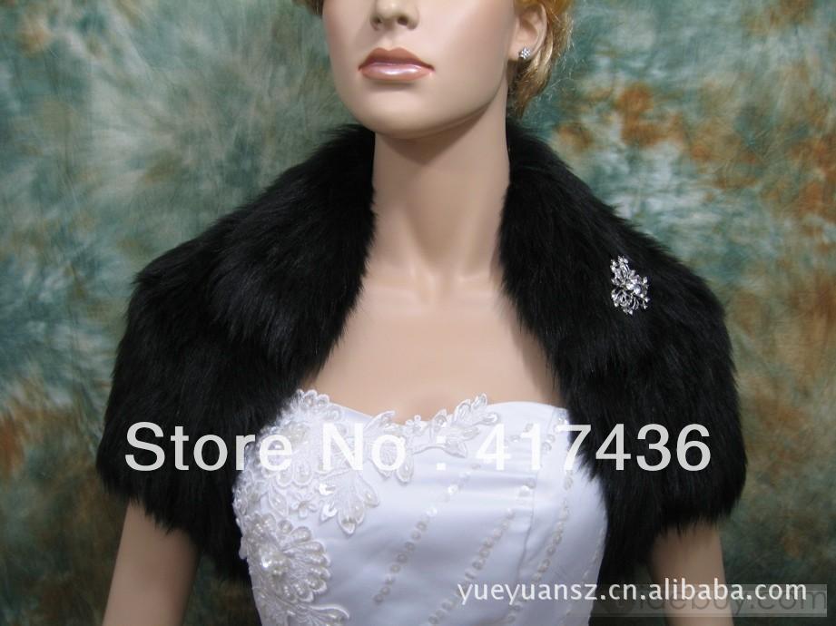 Custom made Hot Wedding Black fur bolero jacket women fashion short sleeve party discount evening shrug bridal wraps shawls(China (Mainland))