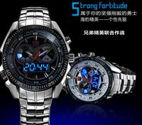 TVG Brand Fashion Men Full Steel Watch LED Digital Quartz Watch 30m Waterproof Dive Clock Hours Men Sports Military Watches