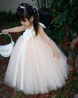 Elegant Peach with Lace Flower Girl Tutu Dress Flower Baby Girl Dress For Wedding Birthday Party Festival Size 2T-8Y