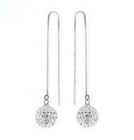 Free shipping 2014 retail cheap classic 925 sterling silver shamballa dangle earrings super shiny cubic zirconia drop earrings