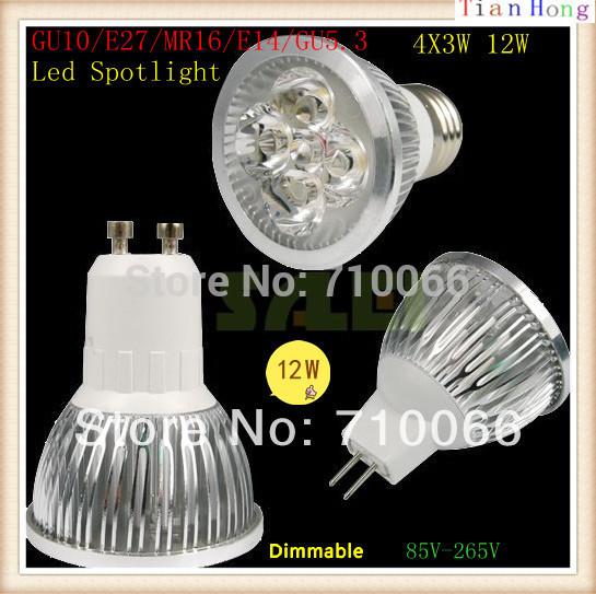 10pcs Lowest Price GU10/E27/MR16(12V)/E14/GU5.3 4X3W 12W Dimmable Spotlight Led Light 110V-240V Led Lamp Bulb downlight(China (Mainland))