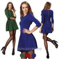 European Women's Elegant Solid Half Sleeve Bodycon Dress Candy Color O-neck Mini Pleated Short Dress Zipper Back HE2726
